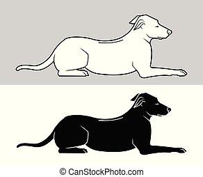 noir, vecteur, silhouette, contour, chiens