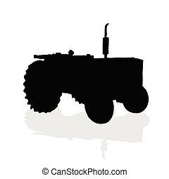 noir, vecteur, silhouette, tracteur