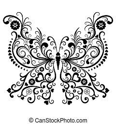 noir, vendange, papillon