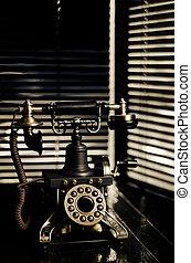 noir, vendimia, -, escena, teléfono, teléfono, retro, ...