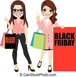 noir, vendredi, filles, mode