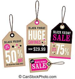 noir, vente au détail, vendredi, étiquettes