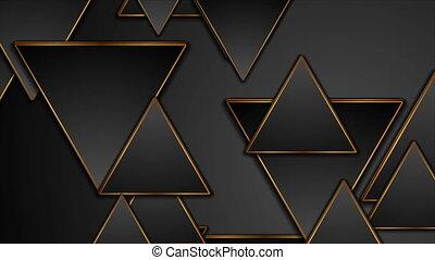 noir, vidéo, triangles, résumé, animation, technologie, bronze