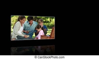 noir, vidéos, backg, contre, famille