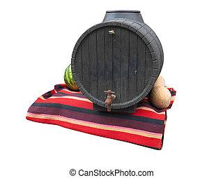 noir, vieux, baril vin, sur, moquette rouge, isolé, sur, blanc