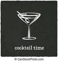 noir, vieux, cocktail, fond
