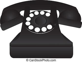 noir, vieux téléphone