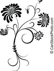 noir, white., silhouette, fleur
