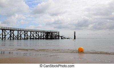 Noirmoutier pier - Pier at Plage des Dames in Noirmoutier,...