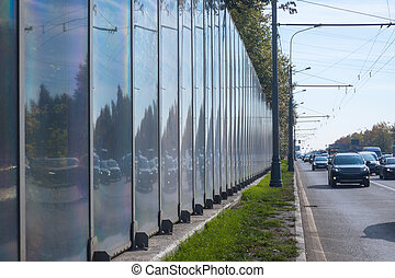 Noise barrier on the Kashirskoe highway in Moscow, Russia