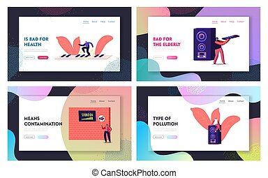 Noise Pollution Landing Page Template Set. Tiny Characters Cover Ears to Avoid Annoying Sound made by Neighbours Playing Music and Tv. People Suffer of Loud Noise Tinnitus. Cartoon Vector Illustration