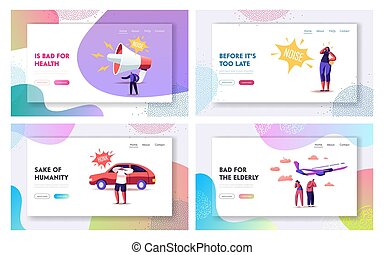Noise Pollution Landing Page Template Set. Tiny Characters Cover Ears to Avoid Annoying Sounds made by Transport and Huge Loudspeaker. People Suffer of Loud Noise Tinnitus. Cartoon Vector Illustration