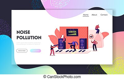 Noise Pollution Landing Page Template. Tiny Characters Cover Ears to Avoid Annoying Sounds made by Neighbours Playing Music and Tv. People Suffer of Loud Noise Tinnitus. Cartoon Vector Illustration