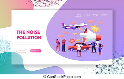 Noise Pollution Landing Page Template. Tiny Characters Covering Ears to Avoid Annoying Sounds made by Transport and Huge Loudspeaker. People Suffer of Loud Noise Tinnitus. Cartoon Vector Illustration