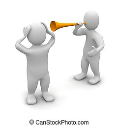 noise., vuvuzela, geleistet, illustration., 3d