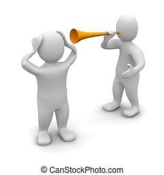 noise., vuvuzela, representado, illustration., 3d