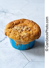 noisette, rempli, poudre, automne, slices., citrouille, fait maison, muffin, pomme