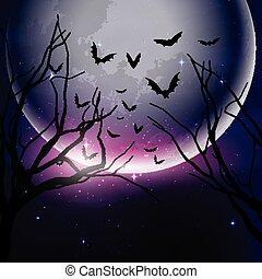 noite halloween, céu, fundo