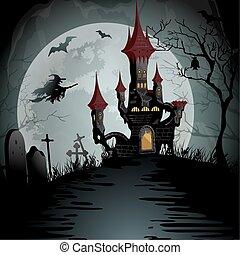 noite halloween, cena, com, spooky, fantasma, castelo