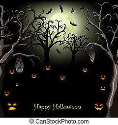 noite halloween, com, abóboras