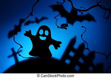 noite halloween, com, fantasma