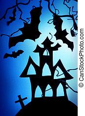 noite halloween, com, morcego, e, casa