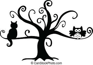noite halloween, coruja, e, gato, em, árvore