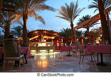 noite, hotel, restaurante