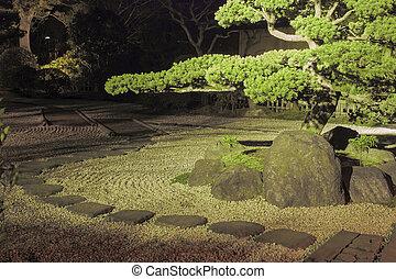 noite, jardim zen