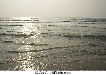 noite, natureza, panorâmico, oceânicos, mar, praia