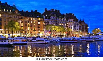 noite, paisagem, de, estocolmo, swede