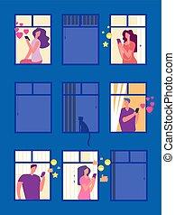 noite, pessoas, janelas, ilustração, vetorial, social, redes