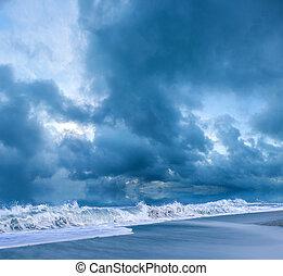 noite, praia, tempestuoso