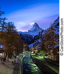 noite, recurso, pico, switzerla, zermatt, esqui, matterhorn