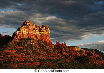noite, rocha, sedona, pôr do sol, arizona, vinda, paisagem, vermelho