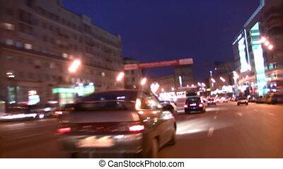 noite, rua, dirigindo