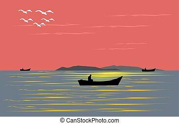 noite, ter, sailing barco, pôr do sol, pesca, fundo, vermelho, sea.