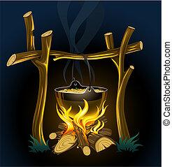 noite, touristic, campfire, e, chaleira, com, alimento