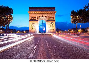 noite, tráfego, ligado, champs-elysees-elysees, frente, arco...