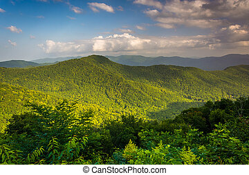 noite, vista, de, a, montanhas appalachian, de, a, cume azul, pa