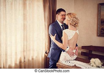 noiva, abraços, noivo