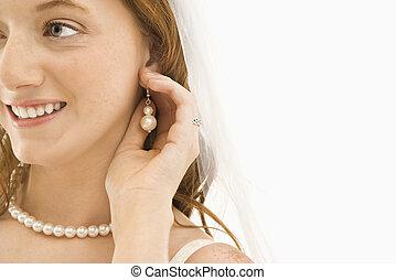 noiva, ajustar, earring.