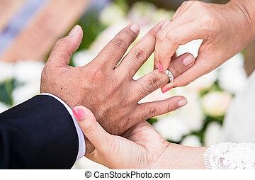 noiva, anel, noivo, pôr, dedo