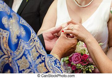 noiva, anel, recebendo, casório