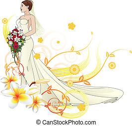 noiva, bonito, vestido casamento, floral, fundo