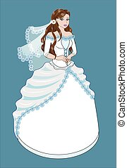 noiva, branca, morena, vestido