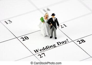 noiva, calendário, noivo, concept:
