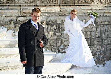 noiva, casório, noivo, feliz, passeio