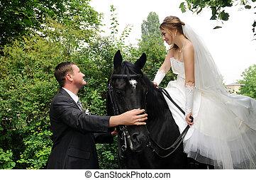 noiva, casório, noivo, horseback