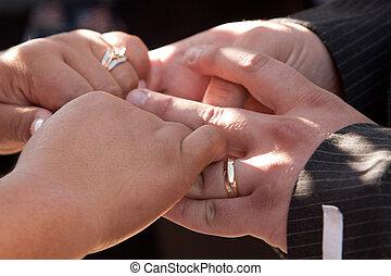 noiva, casório, noivo, mãos